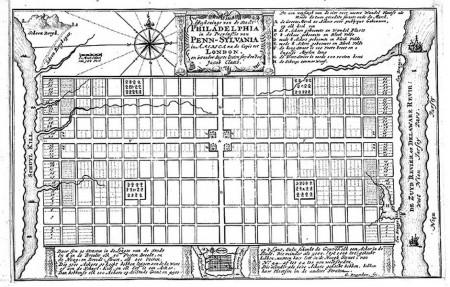 План Пенсильвании, созданный Уильямом Пенном в 1683 году