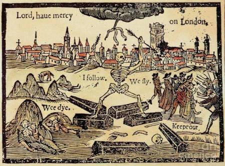 """""""Господи, ниспошли милость Лондону"""". Цветная гравюра на дереве из памфлета о чуме 1625 года"""