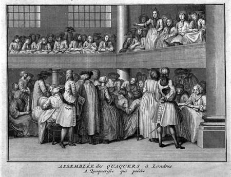 Женщина проповедует на квакерском собрании в Лондоне. Ок.1723 года
