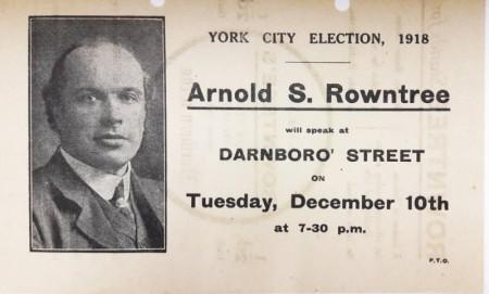 Предвыборная листовка Арнольда Раунтри