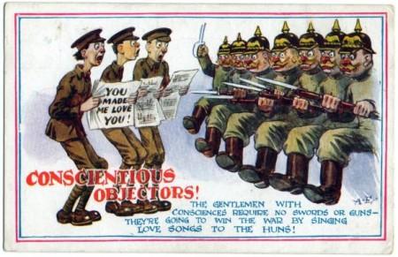 Британская карикатура на отказчиков по мотивам совести времен Первой мировой войны. Антивоенная деятельность.
