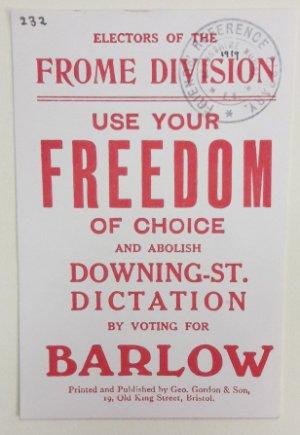 Предвыборная листовка Джона Барлоу. 1918 год