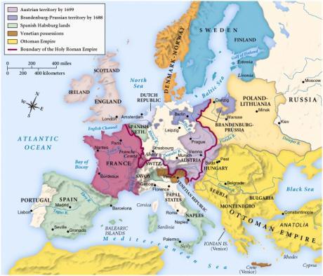 карта Европы конца 17 века