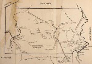Карта квакерской колонии Пенсильвания
