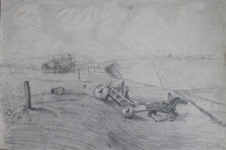 Форд спугнул лошадь. Рисунок Ричарда Килби, сотрудника квакерской миссии помощи в Бузулуке. Белые бандиты