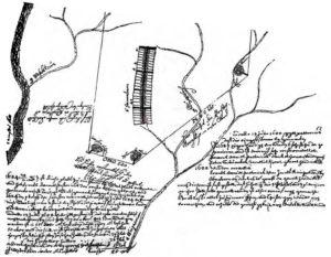 Первоначальная схема Джермантауна, созданная Пасториусом, 1688 год. Город располагался на небольшом холме между двумя речками, которые могли обеспечить транспортную доступность и энергию для водяных колес.
